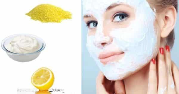 Facial Scrub with cornmeal, yogurt and lemon